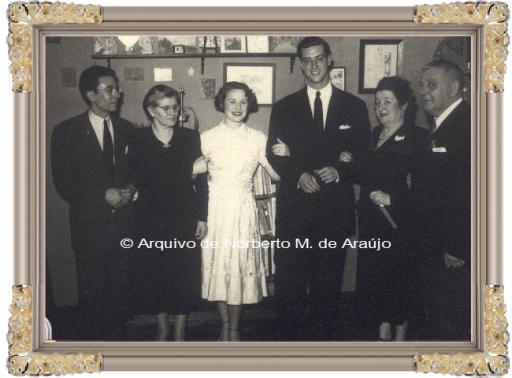 Os noivos - Gaby e Fernando França Pereira - avô Lucrécia, Titó e Norberto de Araújo - 19 de Agosto de 1949