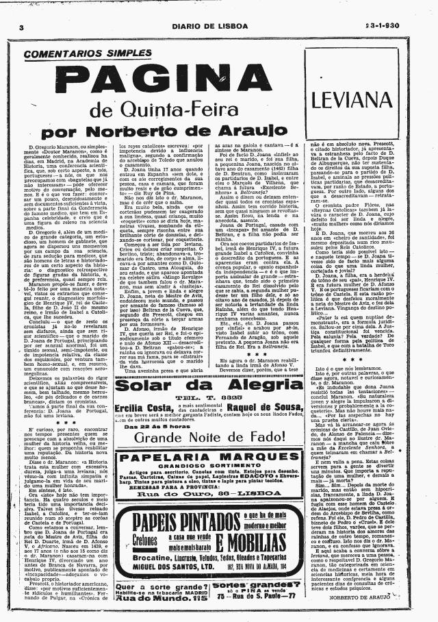 Quinta Feira 23 Jan 1930